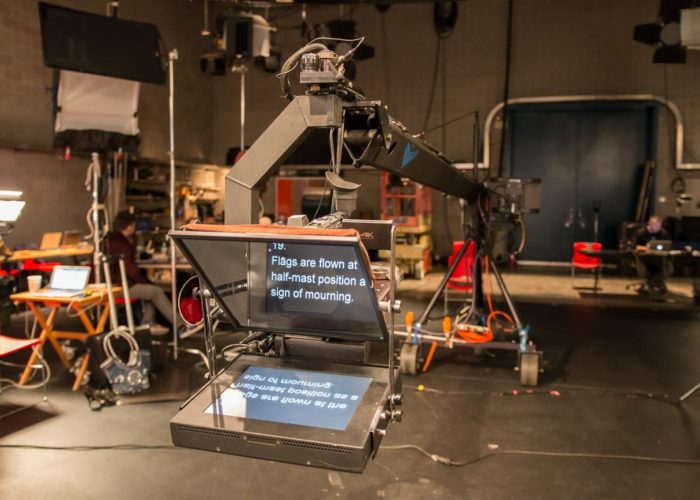 Jib Operator in Hamilton with Teleprompter