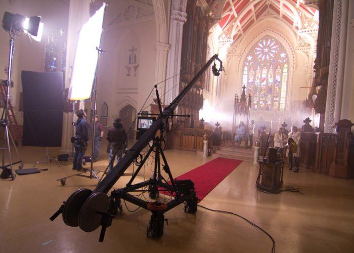 Camera Crane Operator Shoots Music Video in Church